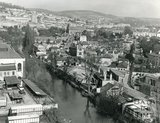General view of the Cattle Market , Tramshed and River Avon, Bath looking east,