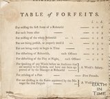 A table of forfeits for the articles of Agreement Between John Palmer and John Henderson (comedian), 1774
