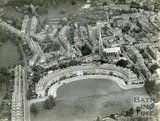 1937 Aerial view of the Royal Crescent and St Andrews Church, Bath, 19 May