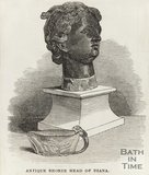 Engraving Antique Bronze Head of Diana