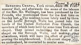 Repurchase of Bethesda Chapel in York Street, ex-Freemasons by the Freemasons hall June 3rd 1866