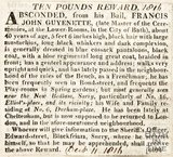A å£10 Reward to find Francis John Guyenette December 11th 1816