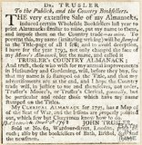 Dr. Trusler to the Public and Country Booksellers, Sale of his Almanacs November 1792