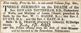 Three Sermons on the death of Revd. Edward Tottenham, now available to buy July 13th 1853