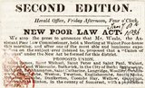 Newspaper article. About the new poor law act, 1836.