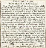Newspaper article. A letter to the editor complaining of the length of time the Magdalen Church had to be closed for to do some restorations, 1834