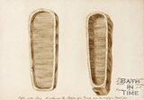 Sketch of coffins found in Bath discovered under the road at the junction of Russell Street and Rivers Street. 1852.
