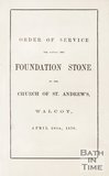Order of service for laying the foundation stone of St Andrews Church, Walcot. 1870.