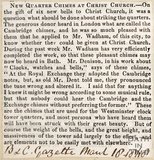 Newspaper article announcing new bells in the tower at Christchurch. 1868.
