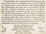 Newspaper article describing a monument erected in the Abbey in memory of Josiah Thomas. 1823.