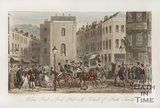 Milsom Street and Bond Street with Portraits of Bath Swells 1825
