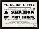 Poster of sermon by Reverend J. Owen at the Vineyards Chapel, 1859