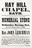 Poster advertising the laying of the foundation stone of the Hay Hill Chapel Bath, 1869
