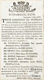 Newspaper article announcing penny posts will be extended into Batheaston, Bathford, Widcombe, Twerton, Weston, Primrose Hill, Sion Hill and Mount. Beacon, 1810