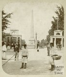 The entrance to Royal Victoria Park and obelisk, Bath 1859