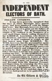 Election Poster To The Independent Electors Of Bath, 1859
