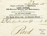 Trade Card for HOLMES & Wilkinson 20 Old Bond Street, Bath 1845