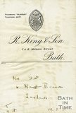 Trade Card for Richard KING & Son 7 & 8 Milsom Street, Bath 1938