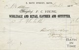 Trade Card for P. C. YOUNG, 2 Bath Street, Bath 1875