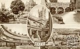 A Multi-view postcard of Bath, c.1940s
