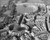 Classic aerial view of the Circus, Brock Street and the Royal Crescent, c.1970s