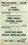Flyer or Poster for John Fred's Playboy Band and Dave Dee, Dozy, Beaky, Mick and Tich at The Pavilion, Bath, 1969