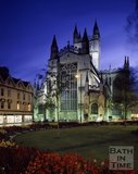 View of Bath Abbey from Orange Grove at dusk, Bath, c.1990