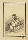 Rustic figure crouching child with jug sketched from life by Thomas Barker, c.1800