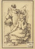 Rustic figure young woman seated and young man with back turned sketched from life by Thomas Barker, c.1800