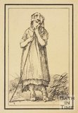 Rustic figure young girl with stick sketched from life by Thomas Barker, c.1800