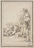 Rustic figure two people one scraping at the ground, the other posing with leg on rock sketched from life by Thomas Barker, c.1800