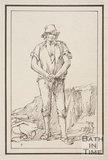 Rustic figure man with stick with what appears to be a quarry in the background, sketched from life by Thomas Barker, c.1800