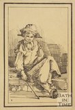 Rustic figure seated girl with hat and stick sketched from life by Thomas Barker, c.1800