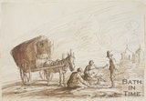 Sketch of seated figures with guitar and horse and cart by Thomas Barker (1769 - 1849)