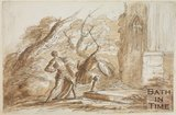 Sketch of battling men in armour by Thomas Jones Barker (1815 - 1870)