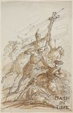Sketch for painting of The Battle of the Cross (?) by Thomas Jones Barker, 1840