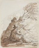 Sketch of a gypsy, a man with a stick seated under a tree by Thomas Barker (1769 - 1840)