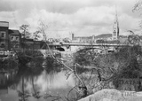View towards St. James's railway bridge across the River Avon, Widcombe, Bath 1956