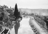 View along Kennet and Avon Canal from Bathwick to Widcombe, Bath 1956
