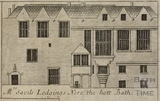 Mrs. Savil's Lodgings near the Hot Bath, Bath. Abbey Church House. Gilmore 1694-1717 - detail