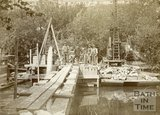 Engineering work on the River Avon by Cleveland Bridge, Bath c.1890