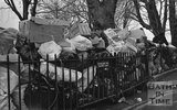 Rubbish piling up at Green Park, Bath, 9 February 1979
