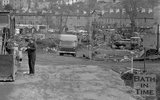 The demolition of Waterloo Buildings and creation of Claverton Street road system in Widcombe, Bath, 31 October 1974