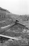 The construction of Rossiter Road over the Kennet and Avon canal, Widcombe, Bath, 3 December 1974