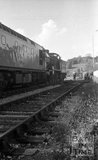 Engine 53808 being moved down the line at Radstock on the Somerset and Dorset Joint Railway, 16 October 1975