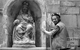 Laurence Tindall and the statue of King Bladud at the Kings Bath, Bath, 19 May 1982