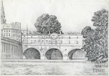 Pulteney Bridge and weir, Bath 1939