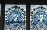 Stained glass peacocks, Jolly's Department Store, Milsom Street, Bath 1965