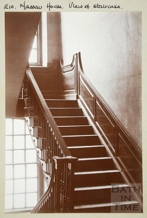View of staircase, Nassau House, 13, Orange Grove, Bath c.1890