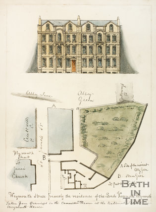 Plan and elevation of Weymouth House, St. James's Street (South), Bath